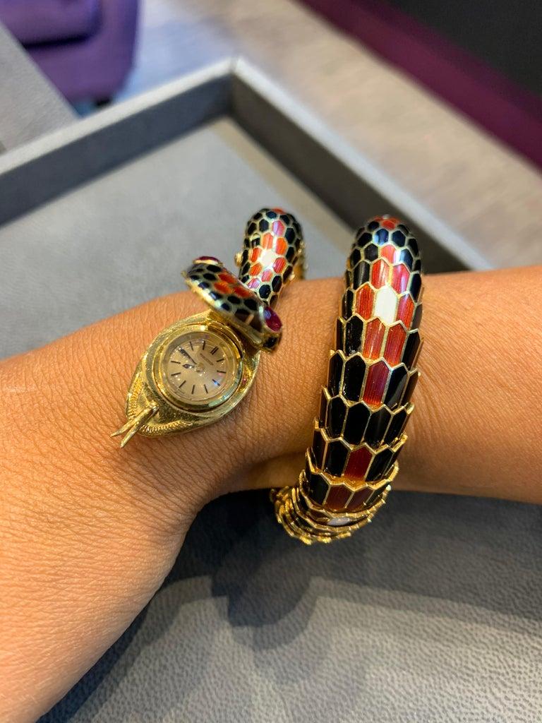 Bvlgari Three-Row Serpenti Gold Watch For Sale 3