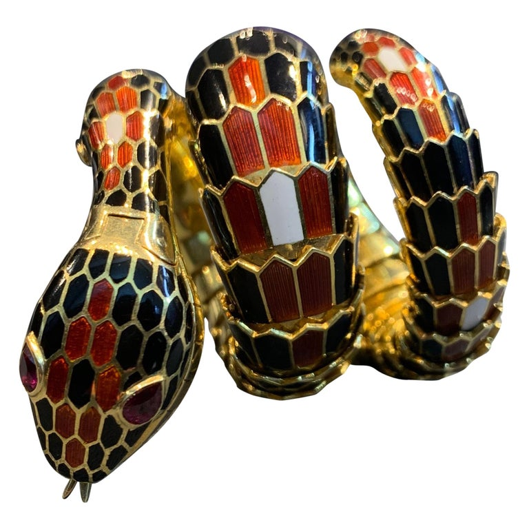 Bvlgari Three-Row Serpenti Gold Watch For Sale