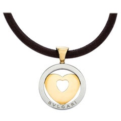 Bvlgari Tondo Heart 18K Yellow Gold & Stainless Steel Pendant Cord Necklace