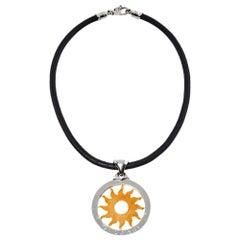 Bvlgari Tondo Sun 18K Gold & Stainless Steel Pendant Cord Necklace