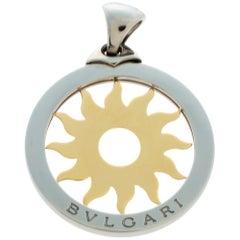 Bvlgari Tondo Sun 18K Yellow Gold and Stainless Steel Pendant Large