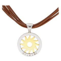Bvlgari Tondo Sun Pendant in Steel and 18 Karat Yellow Gold with Leather Chain