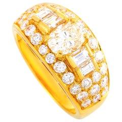 Bvlgari Trombino 18 Karat Yellow Gold and 1.72 Carat Diamond Band Ring