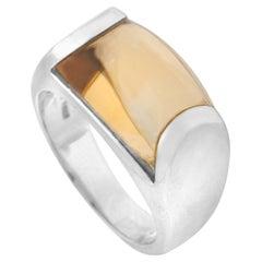 Bvlgari Tronchetto 18 Karat White Gold Citrine Dome Ring