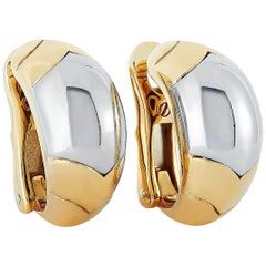 Bvlgari Tronchetto 18 Karat Yellow and White Gold Clip-On Earrings