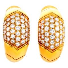 Bvlgari Tronchetto 18 Karat Yellow Gold 1.20 Carat Diamond Clip-On Earrings