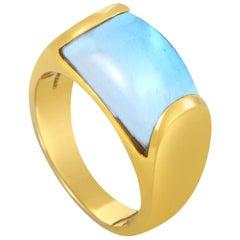 Bvlgari Tronchetto 18 Karat Yellow Gold Blue Topaz Ring