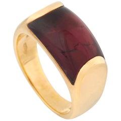 Bvlgari Tronchetto 18 Karat Yellow Gold Garnet Dome Ring