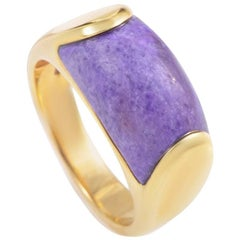 Bvlgari Tronchetto 18 Karat Yellow Gold Purple Agate Ring