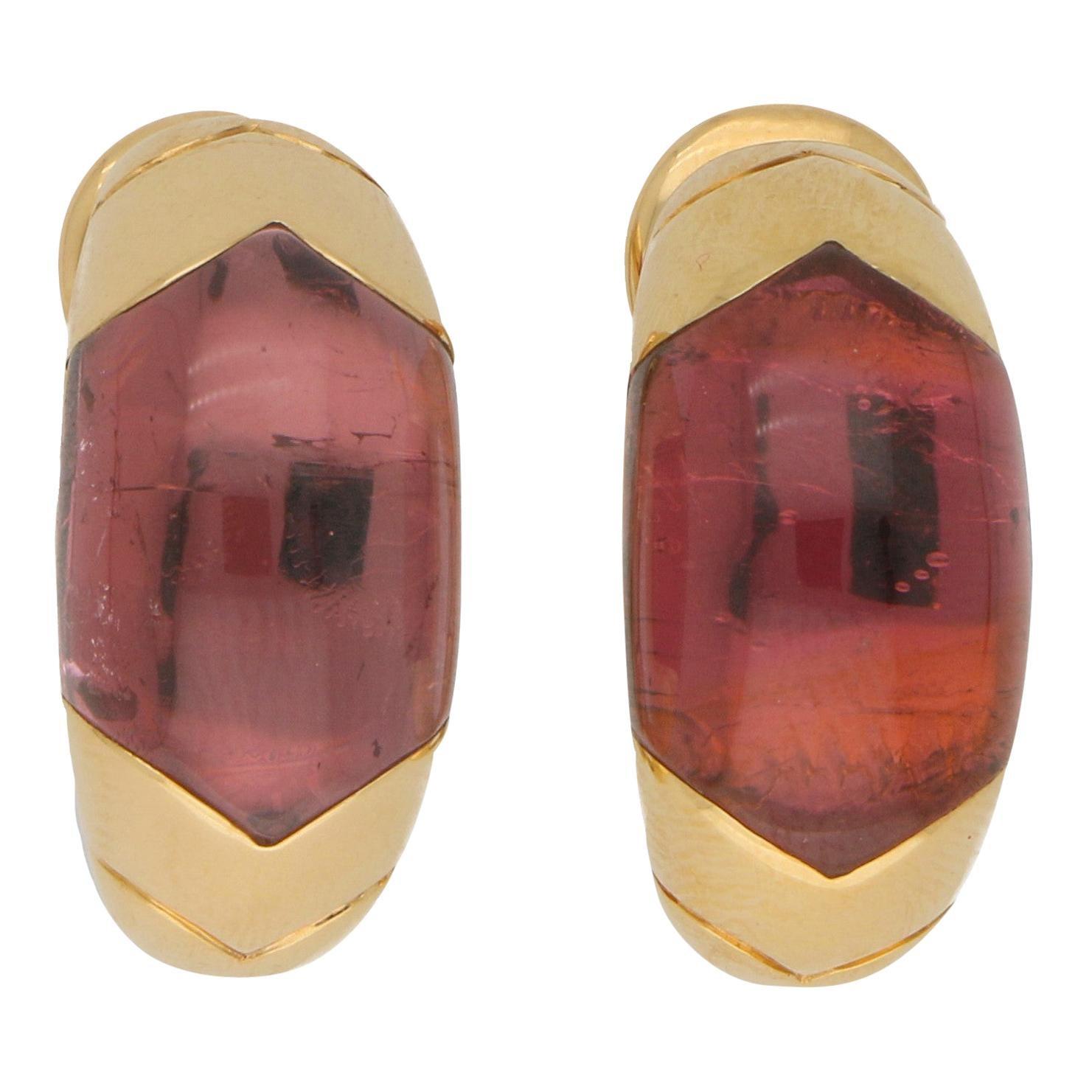 Bvlgari Tronchetto Pink Tourmaline Clip Earrings Set in 18 Karat Yellow Gold