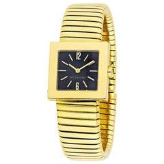 Bvlgari Tubogas 18 Karat Yellow Gold Black Square Dial Vintage Watch