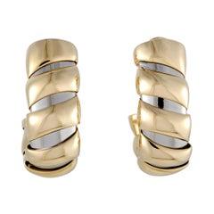 Bvlgari Tubogas 18 Karat Yellow and White Gold Large Huggie Clip-On Earrings