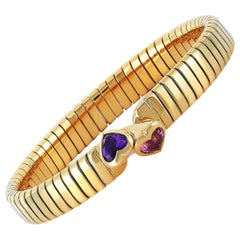 Bvlgari Tubogas 18K Yellow Gold Amethyst and Tourmaline Heart Bangle Bracelet