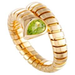 Bvlgari Tubogas 18 Karat Yellow Gold Peridot Band Ring