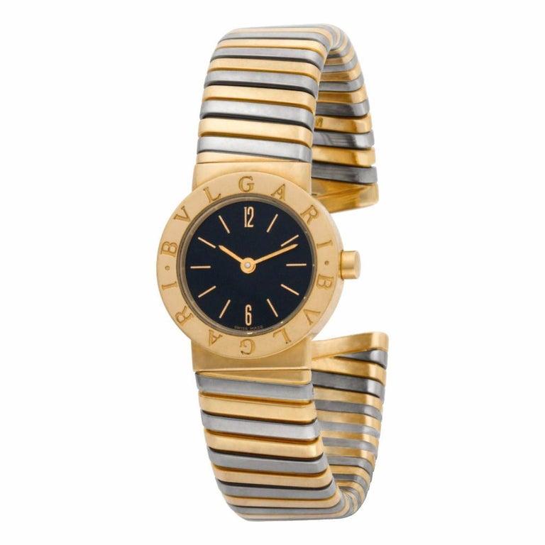 Ladies Bvlgari Tubogas in 18k white & yellow gold. Quartz. Ref BB23T. 23mm case size. Fine Pre-owned Bvlgari / Bulgari Watch. Certified preowned Dress Bvlgari Tubogas BB23T watch is made out of yellow gold on a 18k White & Yellow Gold bracelet. This