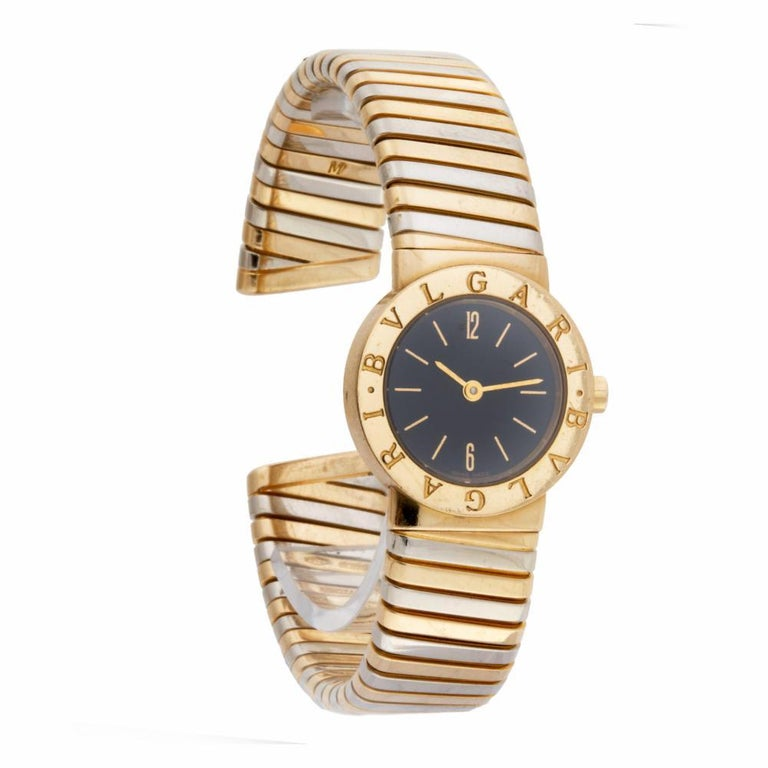 Bvlgari Tubogas BB23T 18 Karat Quartz Watch In Excellent Condition For Sale In Miami, FL