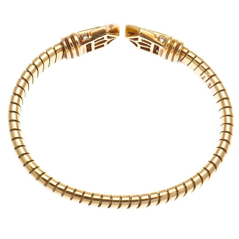 Contemporary Bvlgari Tubogas Diamond Gold Bracelet, circa 1960s For Sale