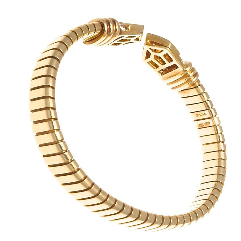 Round Cut Bvlgari Tubogas Diamond Gold Bracelet, circa 1960s For Sale