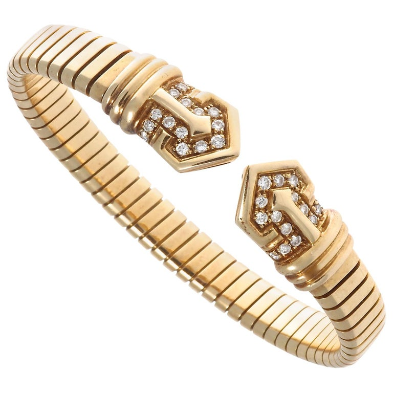 Bvlgari Tubogas Diamond Gold Bracelet, circa 1960s For Sale