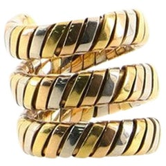 Bvlgari Tubogas Double Wrap Ring 18 Karat Tricolor Gold