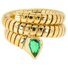 Bvlgari Tubogas Emerald Snake Ring