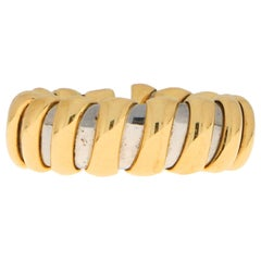 Bvlgari Tubogas Flexible Ring Set in 18 Karat Yellow Gold and Stainless Steel
