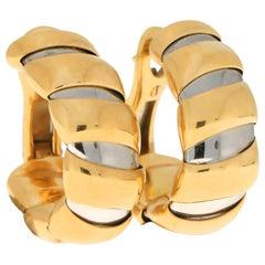Bvlgari Tubogas Hoop Earrings in 18 Karat Yellow Gold and Stainless Steel