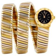 Bvlgari Tubogas Ladies 18 Karat Yellow Gold Black Dial