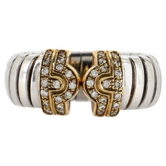 Bvlgari Tubogas Parentesi Ring Stainless Steel and 18K Yellow Gold with D