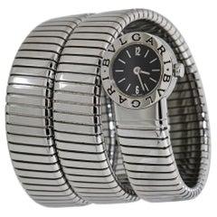 Bvlgari Tubogas Snake BB191TS Ladies Quartz Watch SS Black Dial