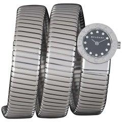 Bvlgari Tubogas Snake Bracelet Stainless Steel Black Diamond Dial BB 19 1TS