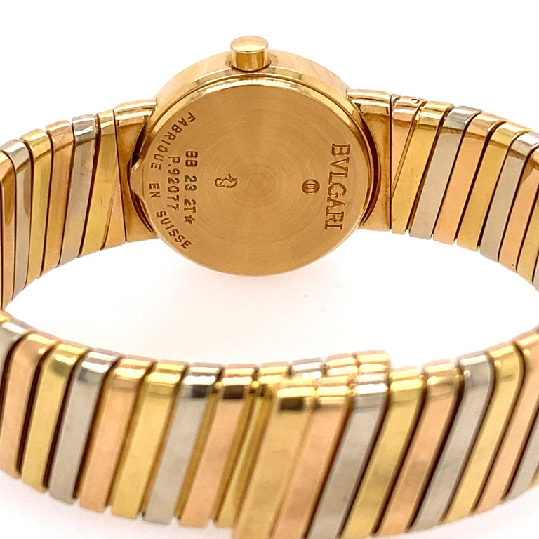 Tri-color 18k Gold 'Tubogas' Bvlgari Bracelet watch. Total weight 52.0. dwt  Measurement of Bracelet wrist is 7 inches, 14.53 mm wide.