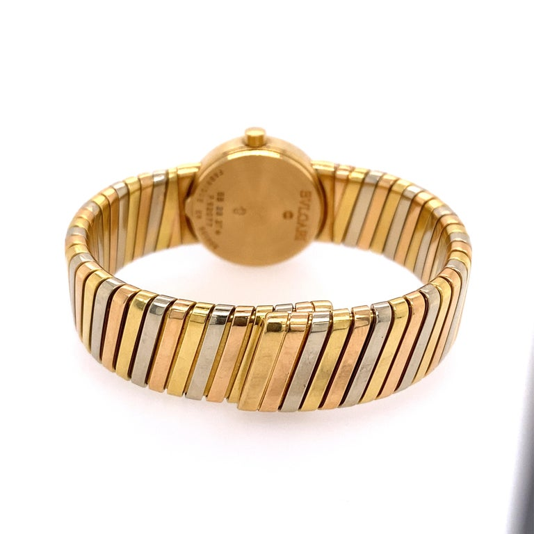 Contemporary Bvlgari Tubogas Tri-Color Gold Bracelet Watch For Sale