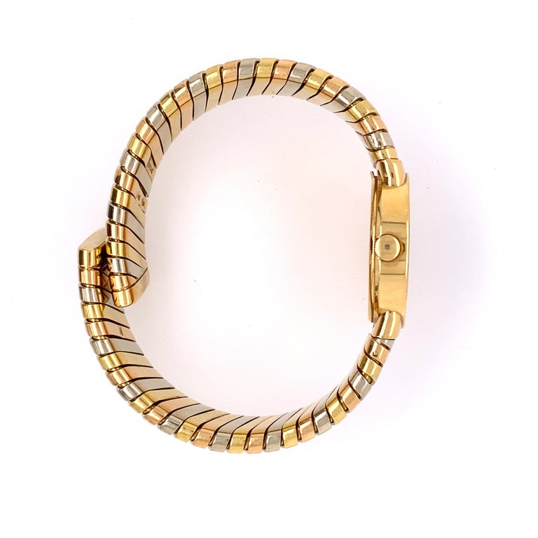 Bvlgari Tubogas Tri-Color Gold Bracelet Watch In Good Condition For Sale In New York, NY
