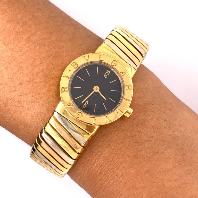 Women's Bvlgari Tubogas Tri-Color Gold Bracelet Watch For Sale
