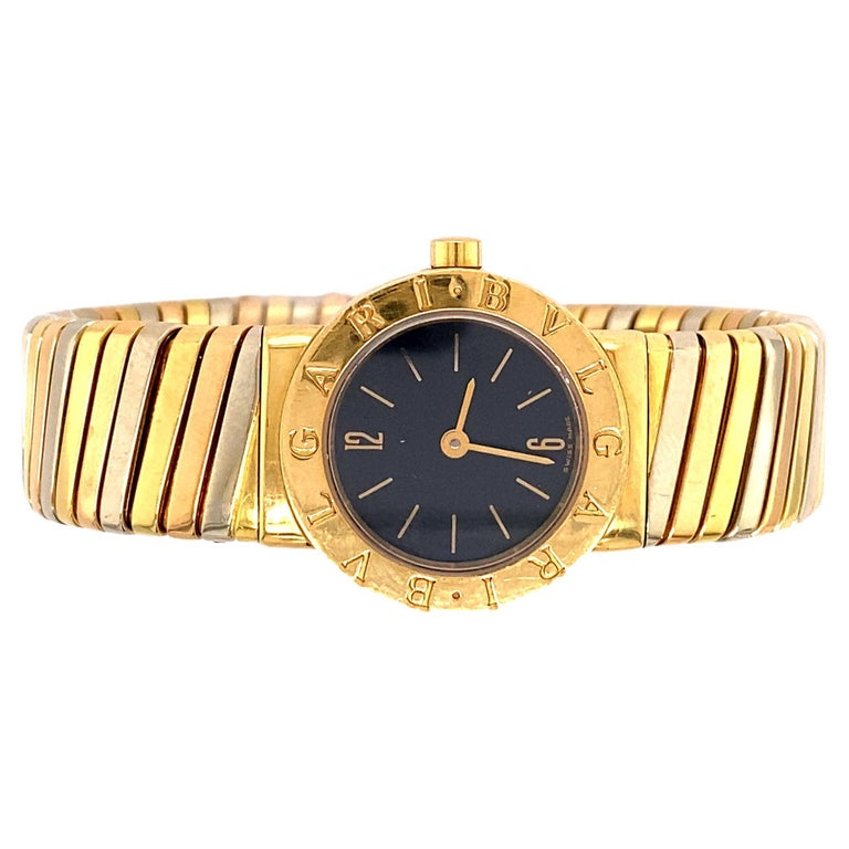 Bvlgari Tubogas Tri-Color Gold Bracelet Watch For Sale