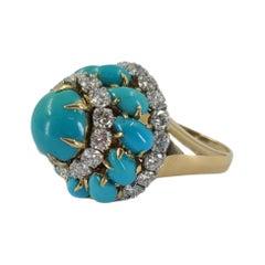 Bvlgari Turqoise & Diamond Domed Cocktail Ring