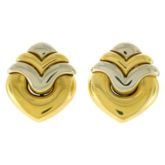 Bvlgari Two-Tone Gold Clip-On Heart Earrings, 1980s