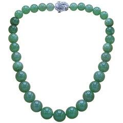 Bvlgari, Very important Large Natural Jade Jadeite and Diamond Necklace
