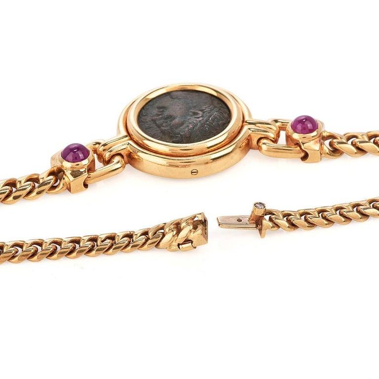 Cabochon Bvlgari Vintage Ancient Coin18k Ruby Bulgari Monete Necklace For Sale