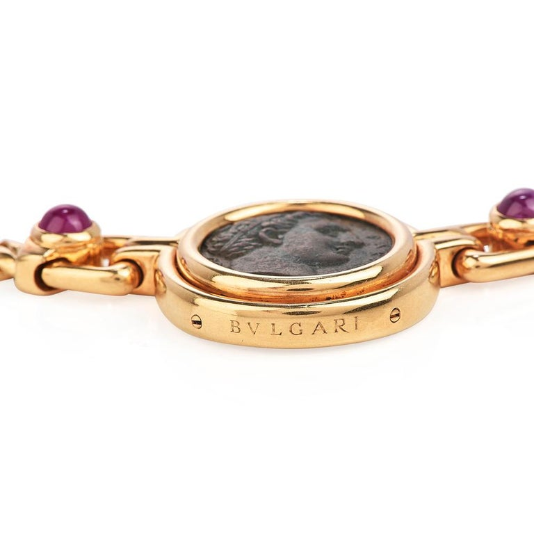 Bvlgari Vintage Ancient Coin18k Ruby Bulgari Monete Necklace In Excellent Condition For Sale In Miami, FL