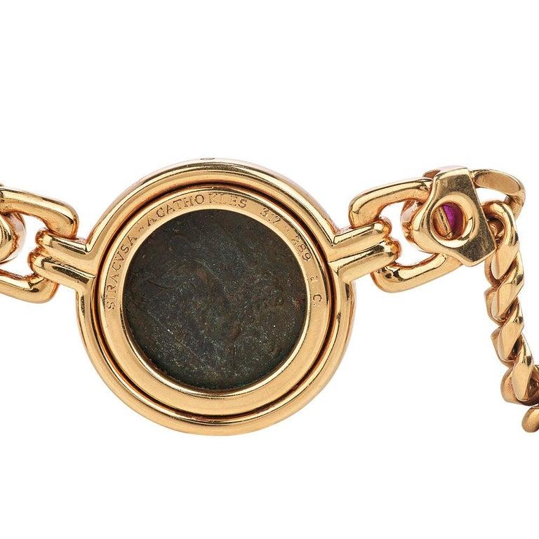 Women's or Men's Bvlgari Vintage Ancient Coin18k Ruby Bulgari Monete Necklace For Sale