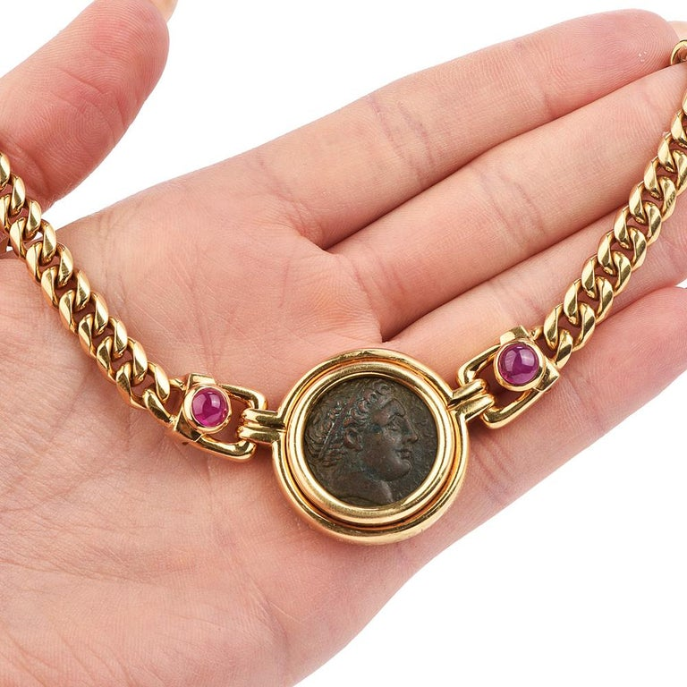 Bvlgari Vintage Ancient Coin18k Ruby Bulgari Monete Necklace For Sale 1