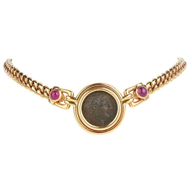 Bvlgari Vintage Ancient Coin18k Ruby Bulgari Monete Necklace For Sale