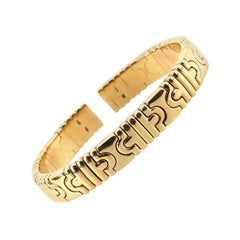 Bvlgari Vintage Parentesi Cuff Bracelet 18 Karat Yellow Gold Narrow
