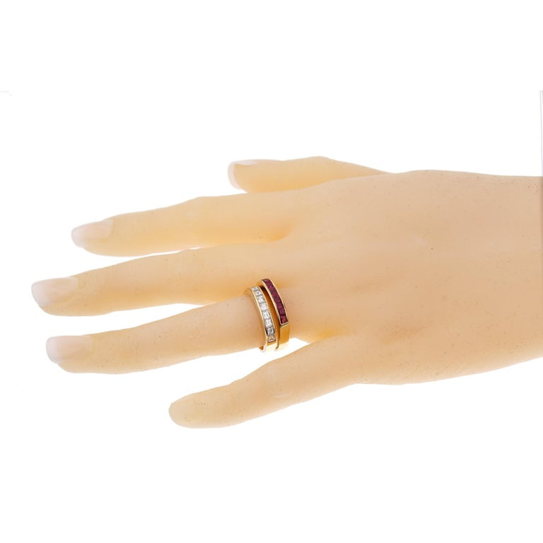 Bvlgari Vintage Ruby Diamond Yellow Gold Band Rings In Excellent Condition In Feasterville, PA
