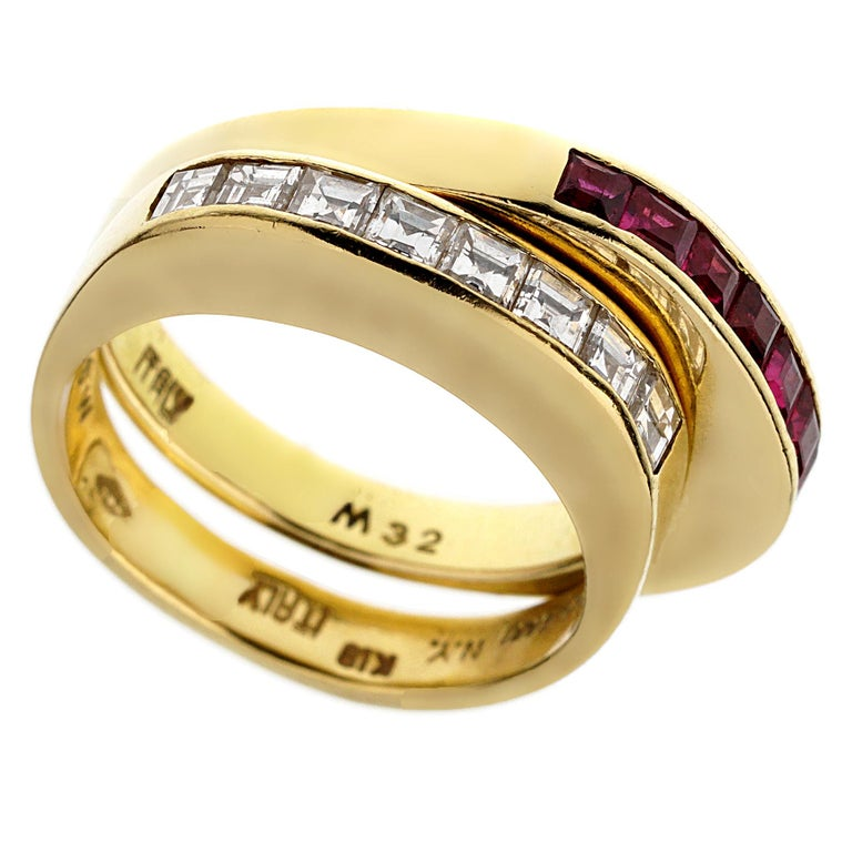 Bvlgari Vintage Ruby Diamond Yellow Gold Band Rings