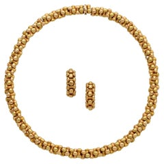 Bvlgari Vintage Yellow & Rose Gold Necklace Earrings Suite