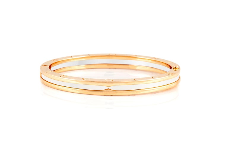 Bracelet, finely crafted in 18k rose gold with white ceramic. Weight of bracelet is 32.6 DWT. Circa 2010.