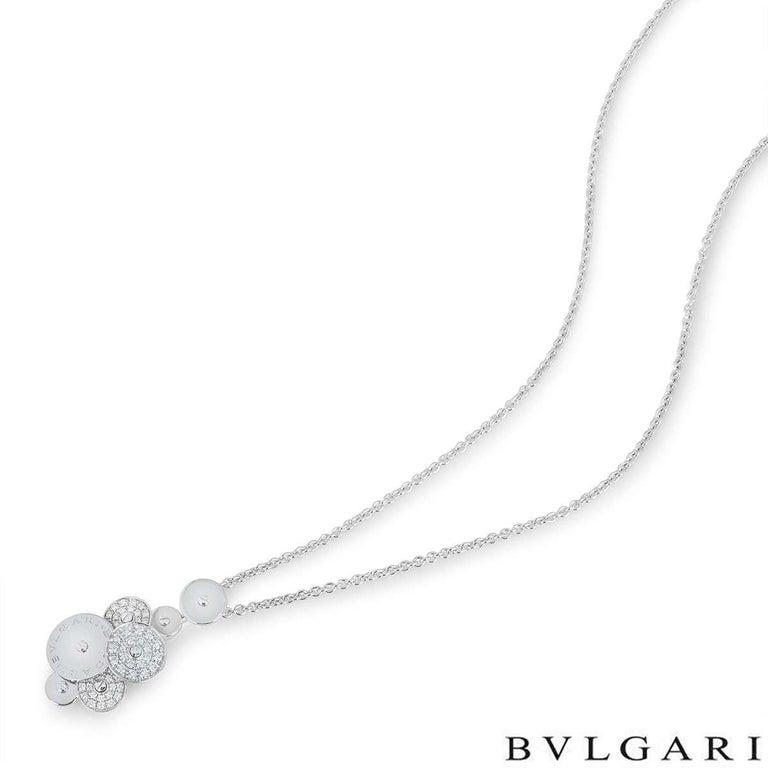 Round Cut Bvlgari White Gold Diamond Cicladi Pendant For Sale